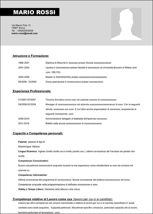 Modello Curriculum Vitae Da Compilare